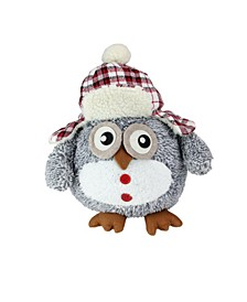 """12"""" Gray Owl with Plaid Bomber Cap Plush Table Top Christmas Figure"""