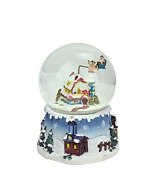 "5.5"" Santa Claus on Sleigh and Snowy Village Rotating Musical Christmas Water Globe Dome"