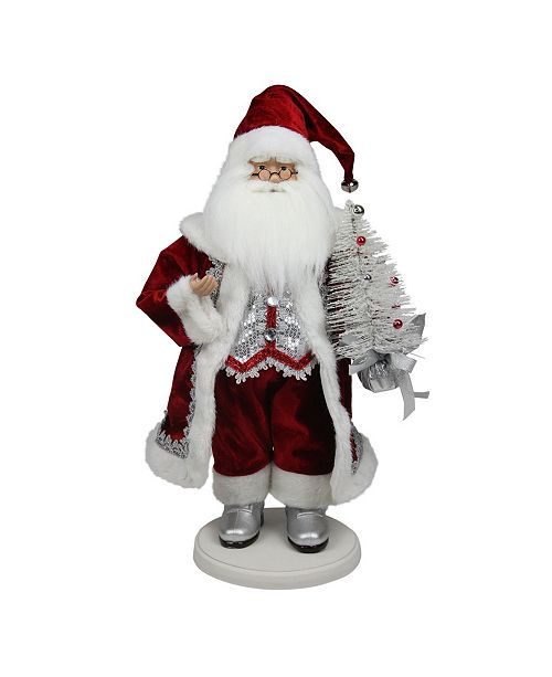 """Northlight 19"""" Red White and Silver Santa Claus with Christmas Tree Tabletop Decoration"""