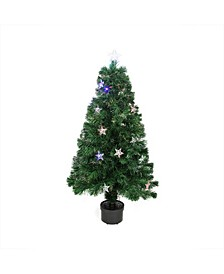 Pre-Lit Led Artificial Christmas Tree with Color Changing Stars and Stand