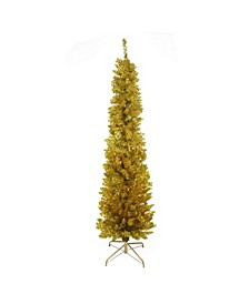 6' Pre-Lit Gold Artificial Tinsel Pencil Christmas Tree - Clear Lights