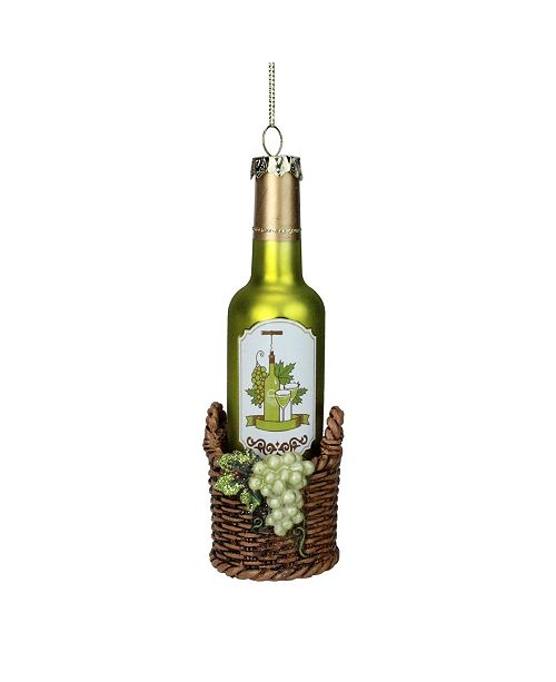 "Northlight 6.25"" Green Wine Bottle in Basket with Grapes Glass Christmas Ornament"