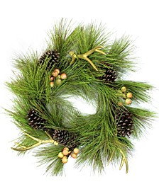 """30"""" Green Pine Needle Pinecones and Golden Antlers Wreath - Unlit"""