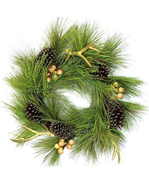 """Northlight 30"""" Green Pine Needle Pinecones and Golden Antlers Wreath - Unlit"""