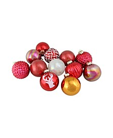 """12 Count Multicolored Multitextured Decorated Ornament Set 3"""""""