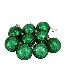 "9ct Green Mirrored Glass Disco Ball Christmas Ornaments 2.5"" 60mm"