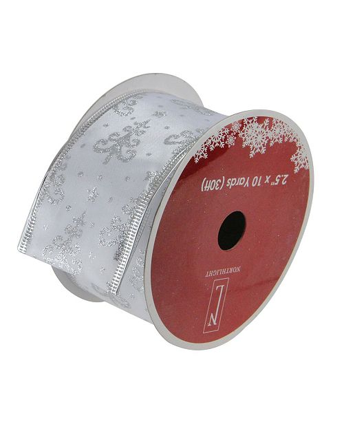"""Northlight Pack of 12 Pearl White and Silver Glitter Trees Wired Christmas Craft Ribbon Spools - 2.5"""" x 120 Yards Total"""
