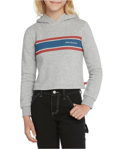 Dickies Big Girls Cropped Fleece Hoodie with Tri Color Icon Logo