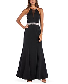 Juniors' Embellished Strappy Gown