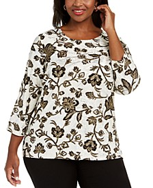 Plus Size Metallic Floral Print Top, Created For Macy's