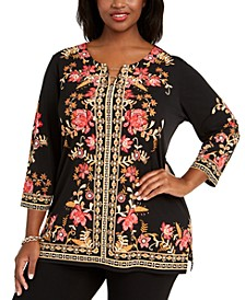 Plus Size Printed Hardware-Trim Top, Created For Macy's
