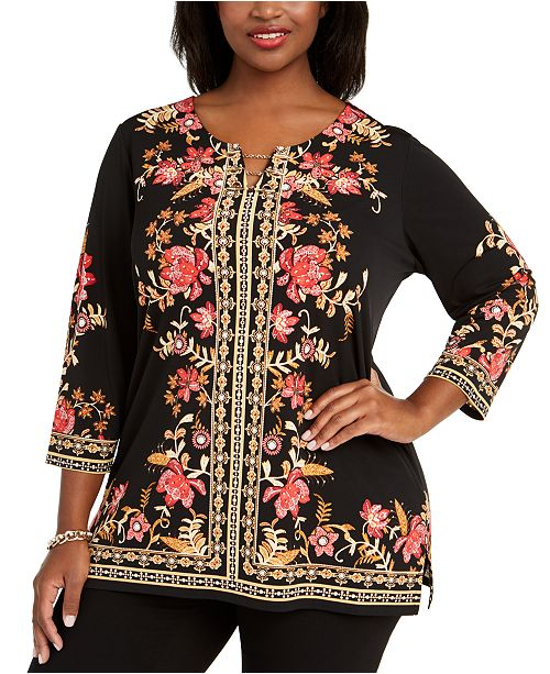 JM Collection Plus Size Printed Hardware-Trim Top, Created For Macy's