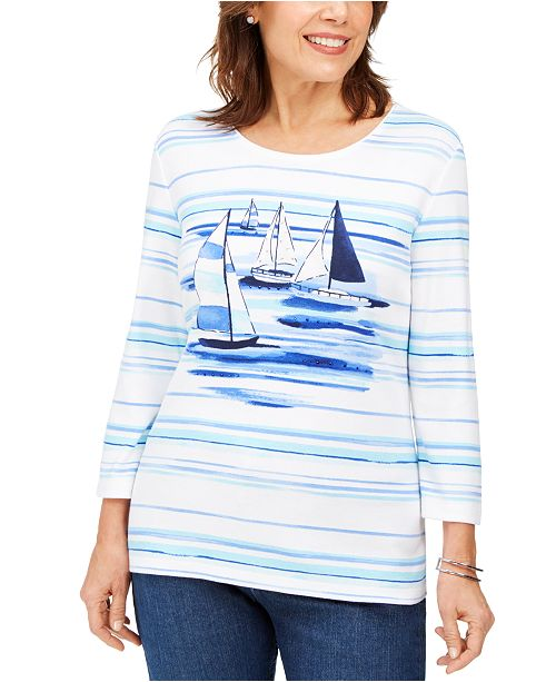 Karen Scott Petite Striped Sailboat-Graphic Top, Created For Macy's