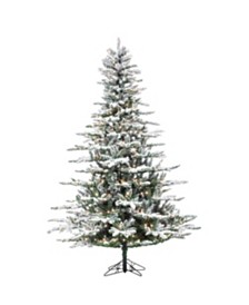 Sterling 7.5-Foot High Flocked Pre-Lit Layered Mountain Spruce with Clear White LED Lights