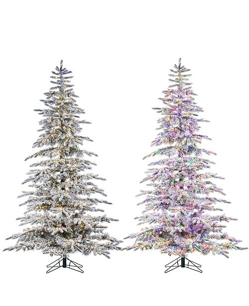Sterling 7.5-Foot High Flocked Pre-Lit Mountain Pine with Instant Glow Power Pole Feature
