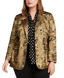 Trendy Plus Size Metallic One-Button Blazer, Created For Macy's