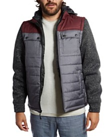 Distortion Nylon Vest with Fleece Sleeves and Hood
