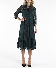 3/4 Sleeve Shirtdress with Contrast Fabric
