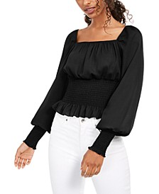 Juniors' Smocked-Waist Peasant Top
