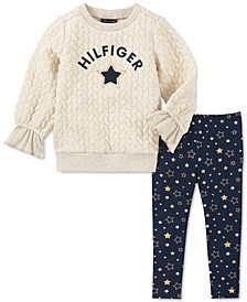 Little Girls 2-Pc. Quilted Sweatshirt & Star-Print Leggings Set