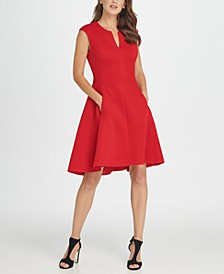 Notch Neck Fit & Flare Mesh Dress