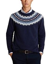 Men's Red Fleece Fair Isle Sweater