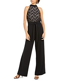 Juniors' Lace Paperbag-Waist Halter Jumpsuit