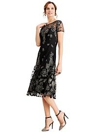Metallic-Floral Midi Dress