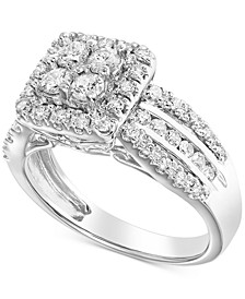 Diamond Square Halo Cluster Engagement Ring (1 ct. t.w.) in 14k White Gold