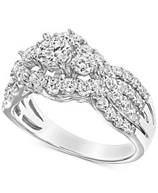 Diamond Cluster Openwork Engagement Ring (1-1/2 ct. t.w.) in 14k White Gold