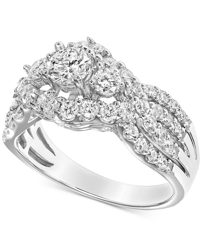 Macy's - Diamond Cluster Openwork Engagement Ring (1-1/2 ct. t.w.) in 14k White Gold