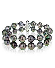 Black Tahitian Cultured Pearl (8-10 mm) Double-Row Bracelet in Sterling Silver