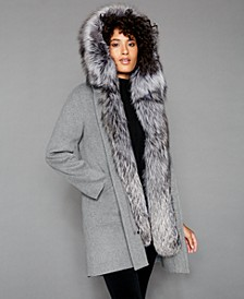 Fox-Fur-Trim Hooded Parka Coat