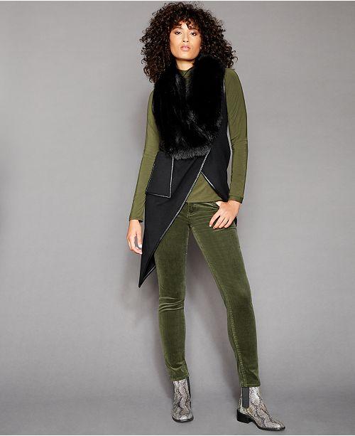 The Fur Vault Asymmetrical Fox-Fur-Trim Vest