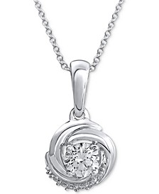 """Diamond Knot 18"""" Pendant Necklace (1/4 ct. t.w.) in 14k White Gold"""