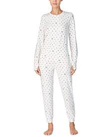 Printed Jersey Shirt & Jogger Pants 2pc Pajama Set