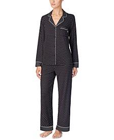 Women's Printed Jersey Shirt & Pants Pajamas Set