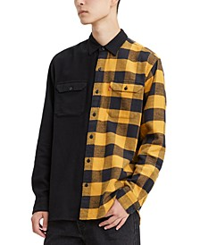 Men's Limited Collection Split Pattern Work Shirt, Created For Macy's