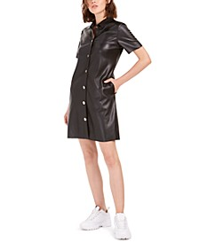 Faux-Leather Shirtdress, Created for Macy's