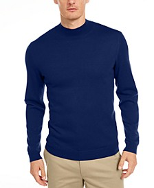 Men's Solid Mock-Neck Merino Wool Blend Sweater, Created for Macy's