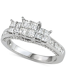 Diamond Princess Quad Cluster Engagement Ring (1-1/2 ct. t.w.) in 14k White Gold
