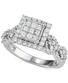 Diamond Princess Cluster Engagement Ring (1-1/6 ct. t.w.) in 14k White Gold