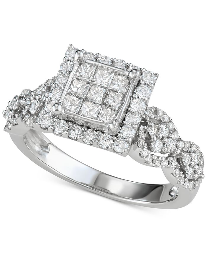 Macy's - Diamond Princess Cluster Engagement Ring (1-1/6 ct. t.w.) in 14k White Gold
