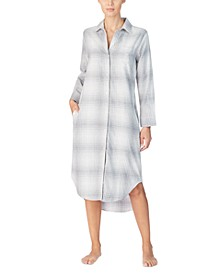 Cotton Plaid Ballet Long Sleep Shirt