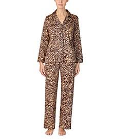 Cotton Sateen Leopard-Print Shirt & Pants Pajamas Set