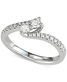Diamond Two-Stone Bypass Engagement Ring (1/2 ct. t.w.) in 14k White Gold