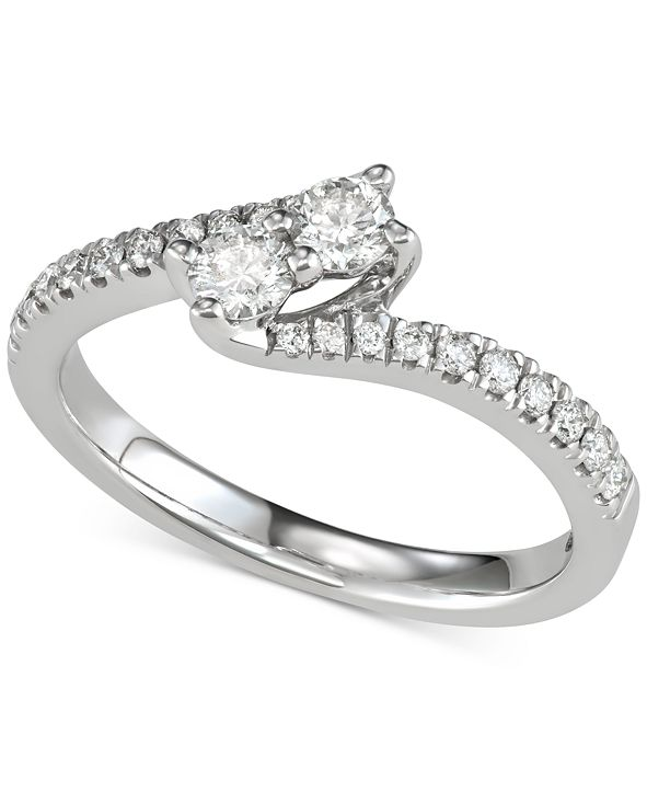 Macy's Diamond Two-Stone Bypass Engagement Ring (1/2 ct. t.w.) in 14k White Gold