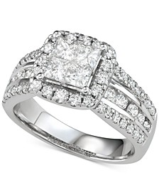 Diamond Princess Three Row Engagement Ring (2 ct. t.w.) in 14k White Gold