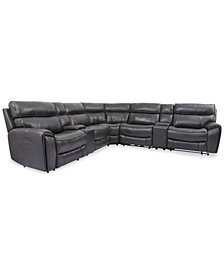 Hutchenson 7-Pc. Leather Sectional with 2 Power Recliners, Power Headrests and 2 Consoles with USB