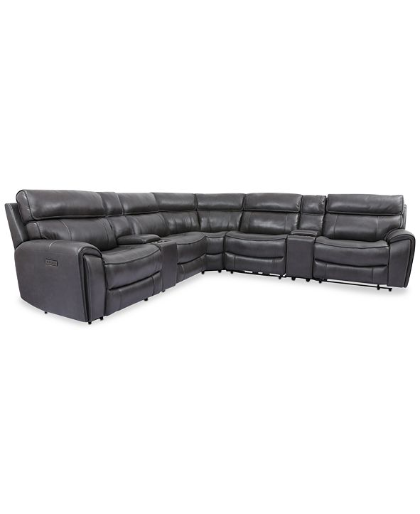 Furniture Hutchenson 7-Pc. Leather Sectional with 2 Power Recliners, Power Headrests and 2 Consoles with USB